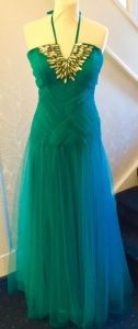 Jade green with net skirt and beading at bust