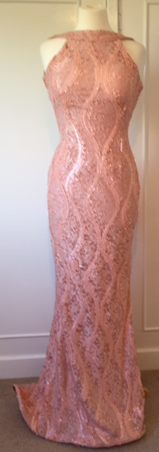 PM Pale pink sequin backless hoop hem